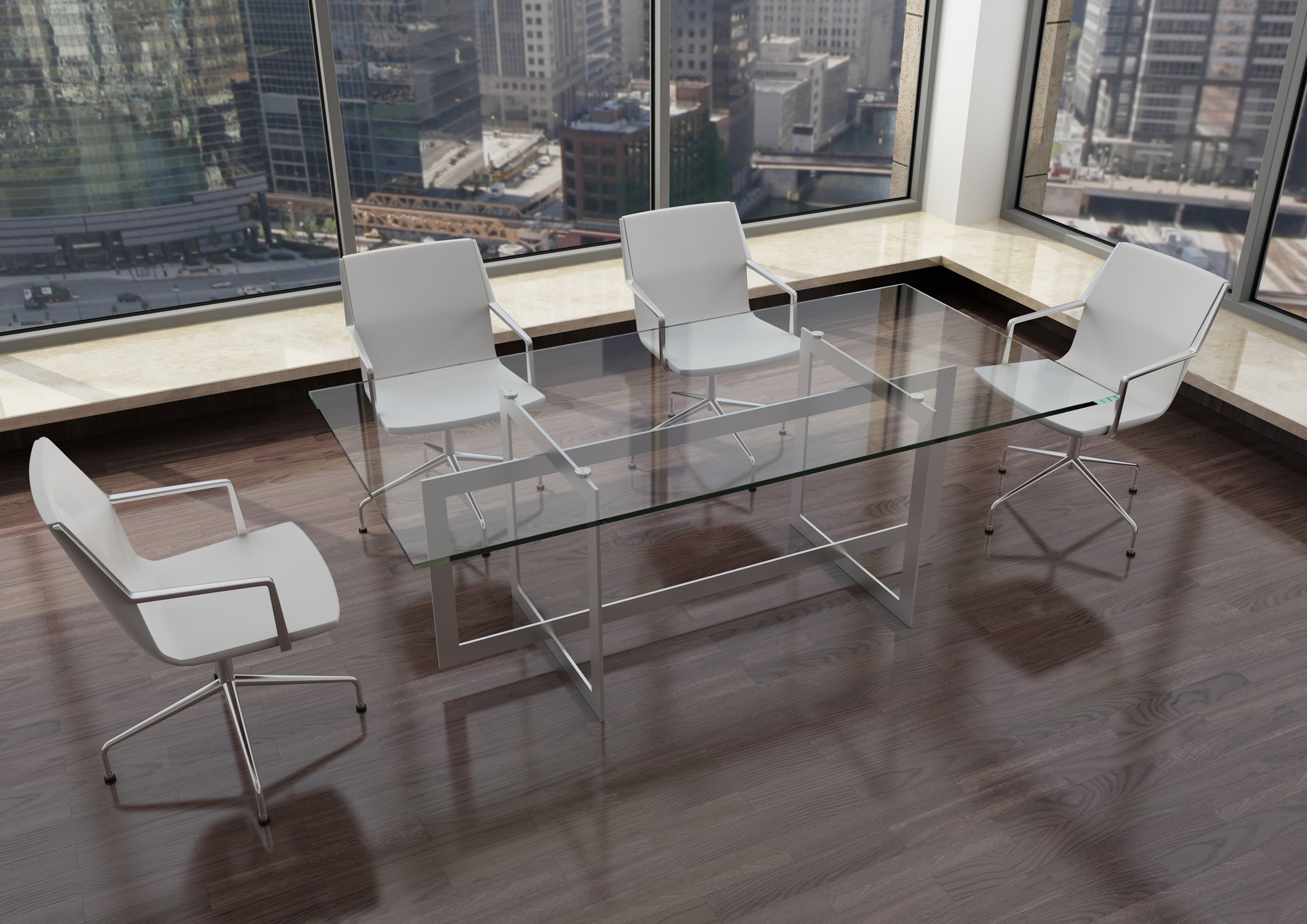 Modern Glass Steel Conference Table Ambience Dor 233