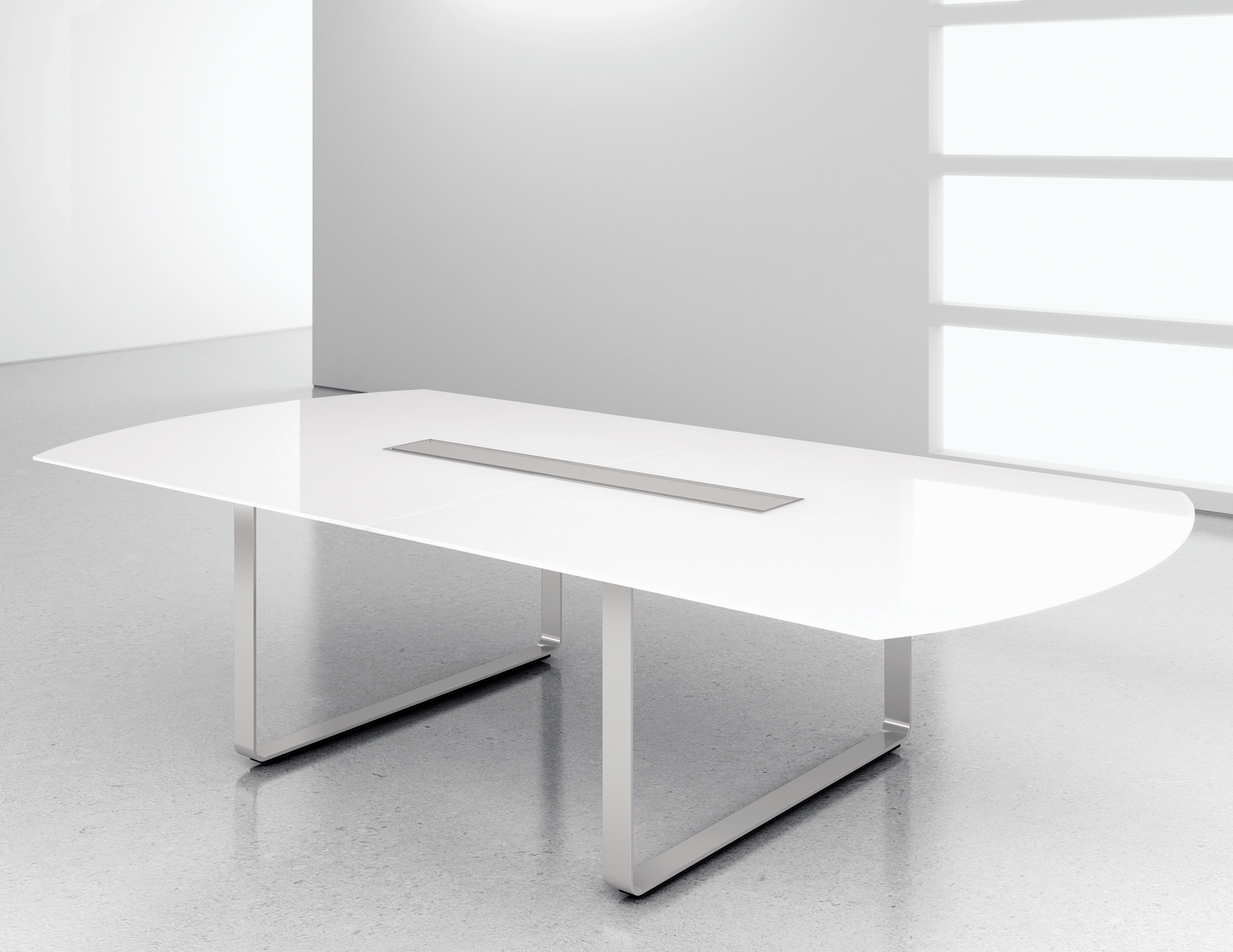 White Glass Modern Conference Table Ambience Doré - Gray conference table