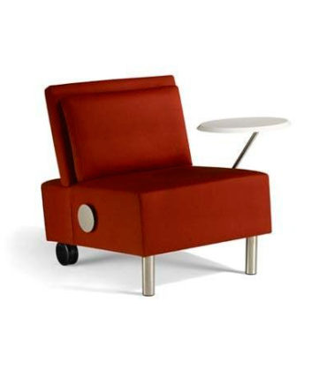 red open tablet arm chair
