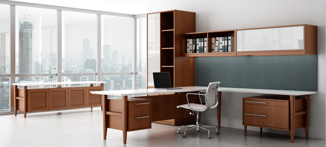 retro modern wood private office desk ambience dor