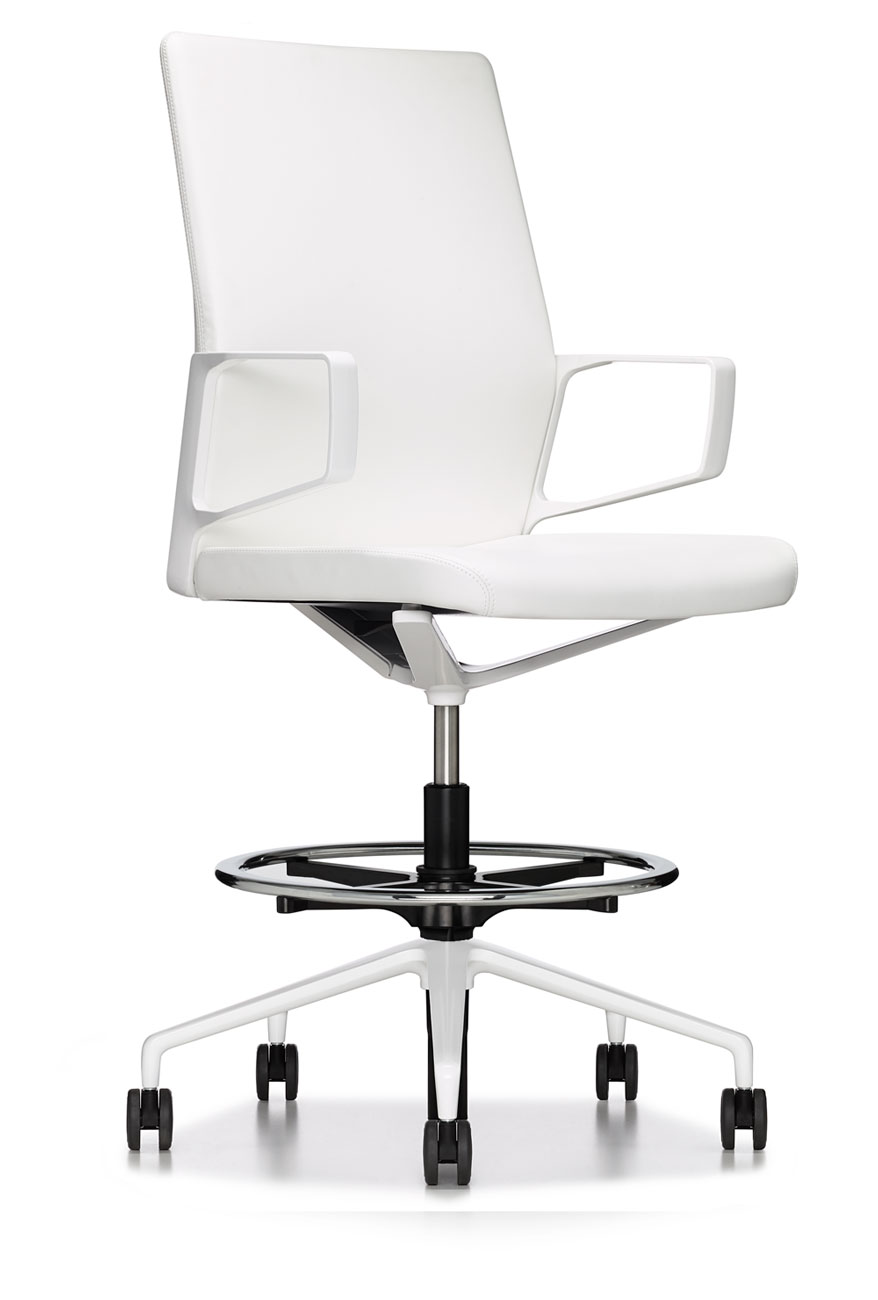 white modern premium executive drafting chair  ambience doré - white modern premium executive drafting chair
