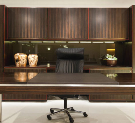 Executive Ebony Wood Modern Desk