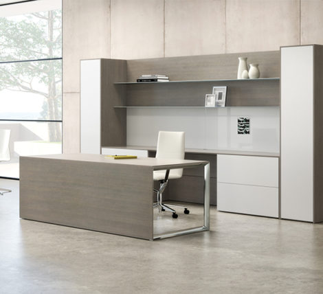 Contemporary Grey Wood Desk