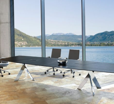 Contemporary Modern Executive Wood Chrome Table