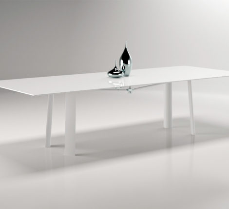 Premium All White Glass Top Metal Table