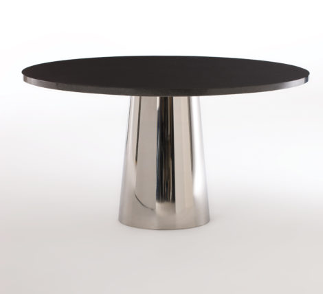 Black Round Chrome Table
