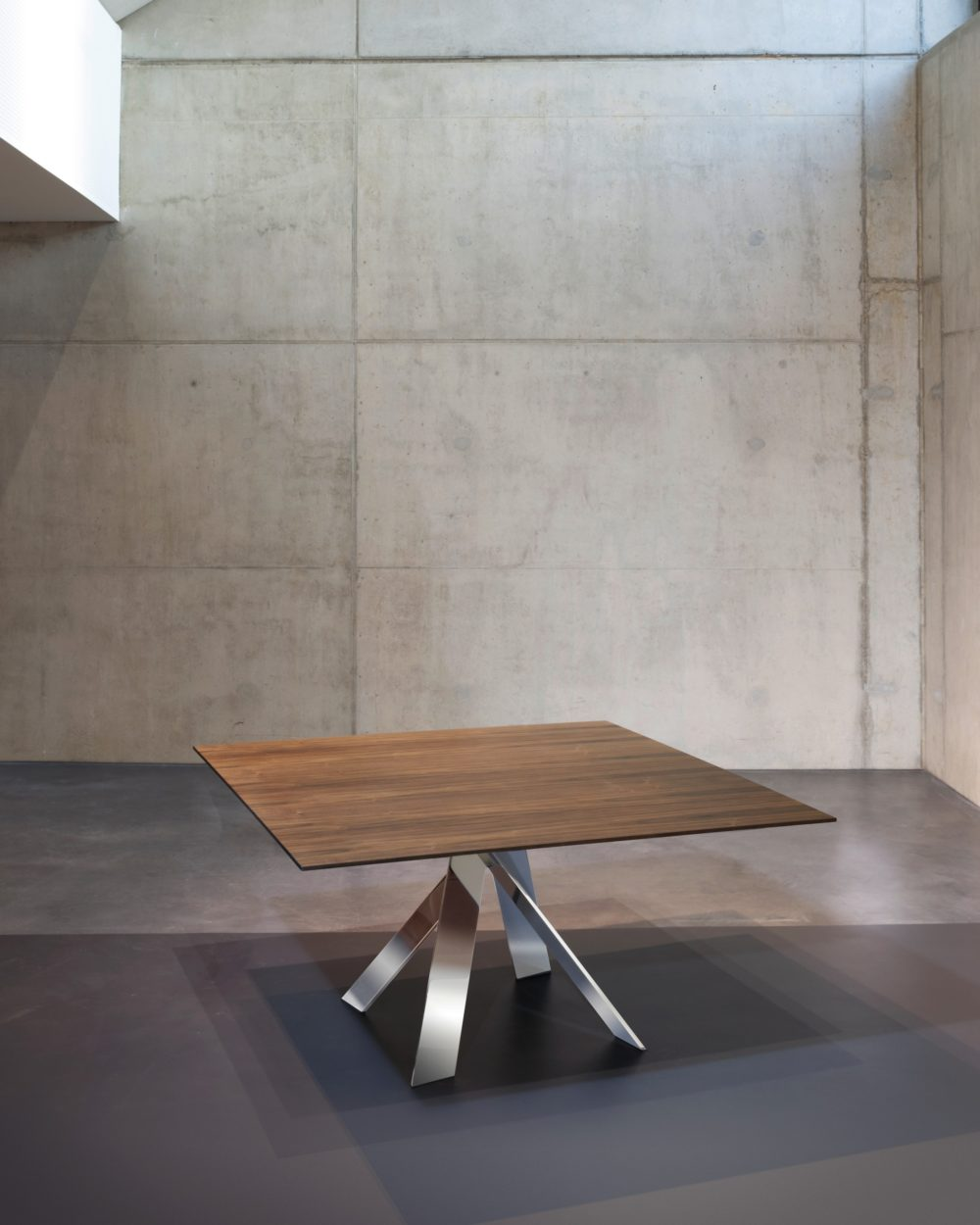 Square Wood Chrome Crossed Base Table