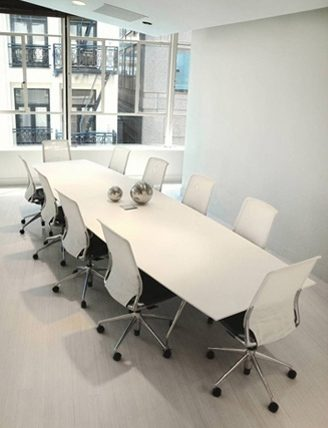 white large modern conference table chrome leg base