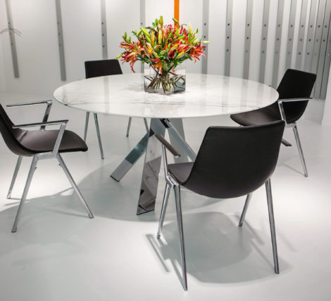 White Round Modern Chrome Table