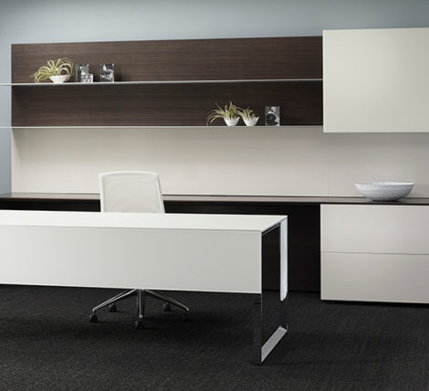 Modern White Chrome Executive Desk