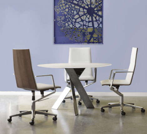 Extreme modern elegance thin profile office meeting chair and home office Wood High Back Leather Chair
