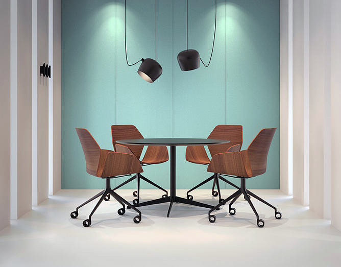 ultra modern contemporary black meeting table and chairs