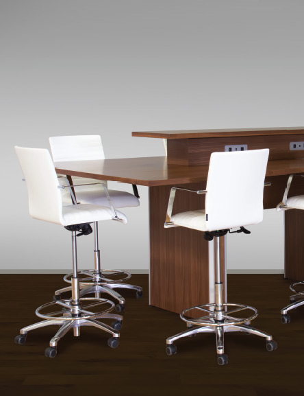 White Chrome Drafting Chairs