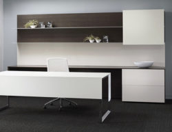 white glass chrome executive desk