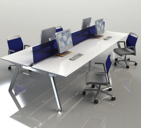 Premium Modern White Metal Bench Desk