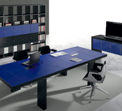 Black Contemporary Modern Blue Leather Desk