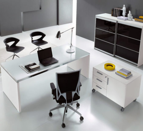 Glass Top White Desk