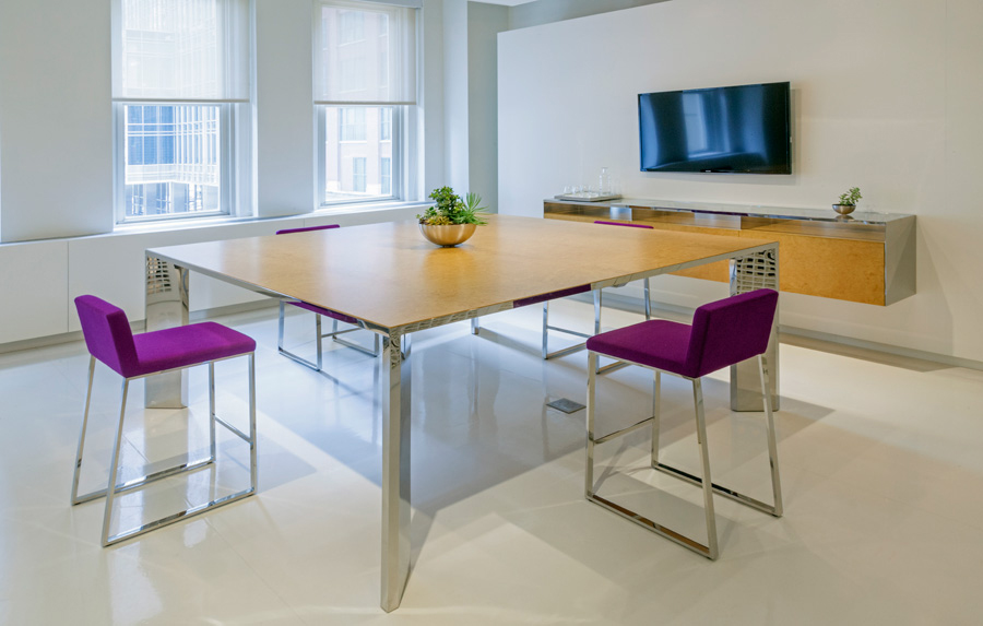 Contemporary Conference Table Large Square Steel