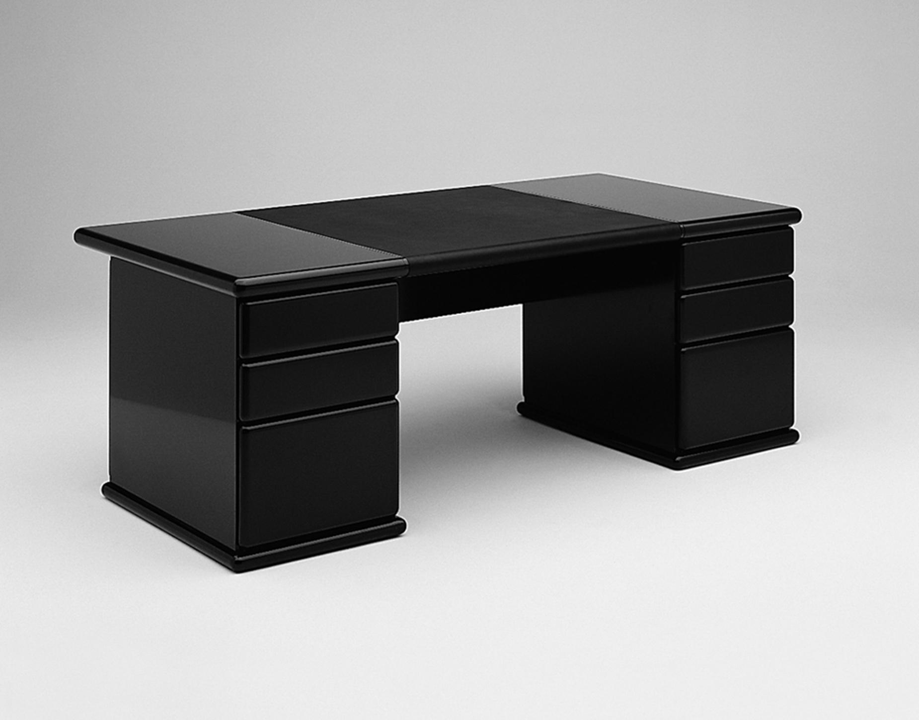 Neo Old School Black Retro Double Pedestal Desk for Executive home office
